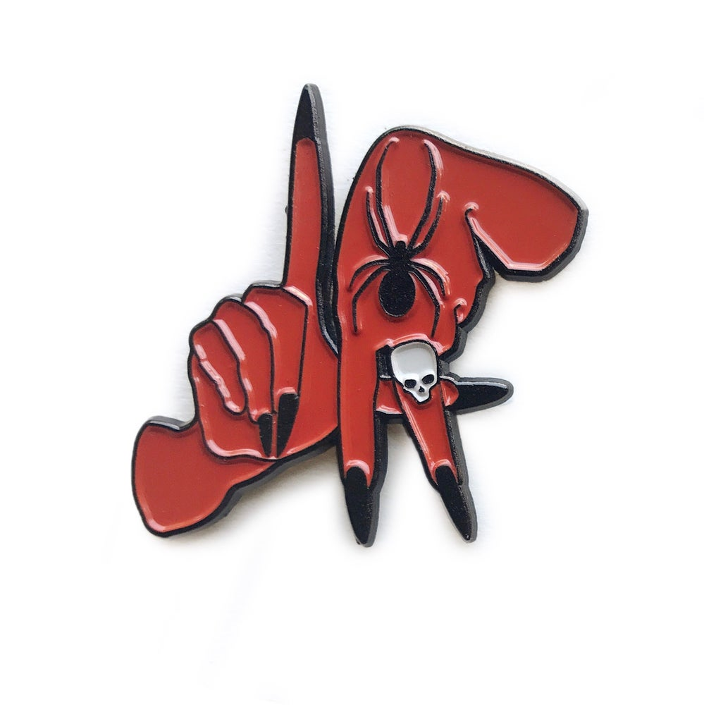 Image of Los Angeles hands Enamel pin red and black
