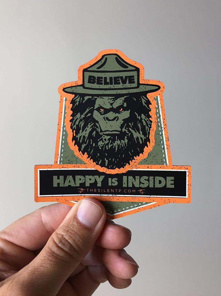 Believe Happy is Inside,  custom die-cut magnet.