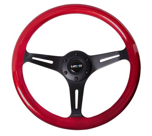 Image of NRG ST-015BK-RD Red Wood Wheel 350MM + QR