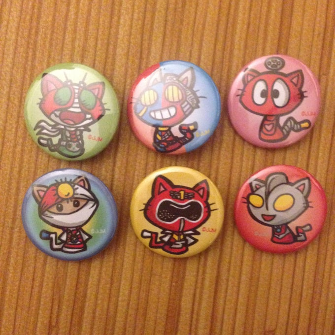 Image of Tokusatsu Kitty Buttons #1