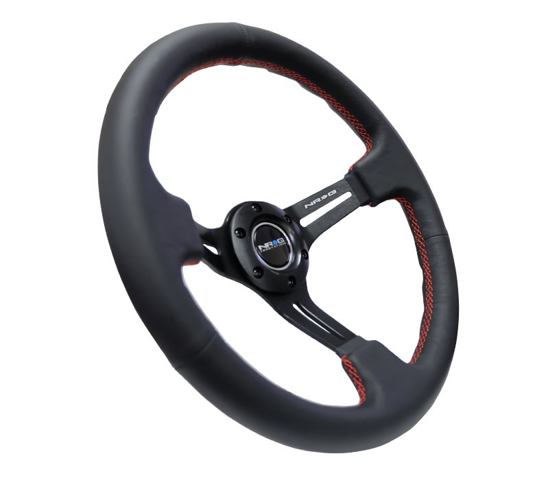 Image of NRG  Black Leather Wheel 350MM