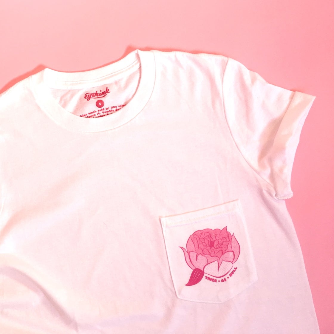 Image of THICK AS HELL peony pocket tee