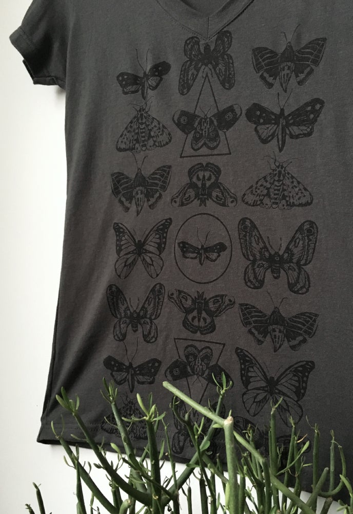 Image of Moth Print V-neck Tee- Ladies Fit