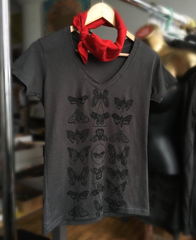 Image of Moth Print V-neck Tee- Ladies Fit