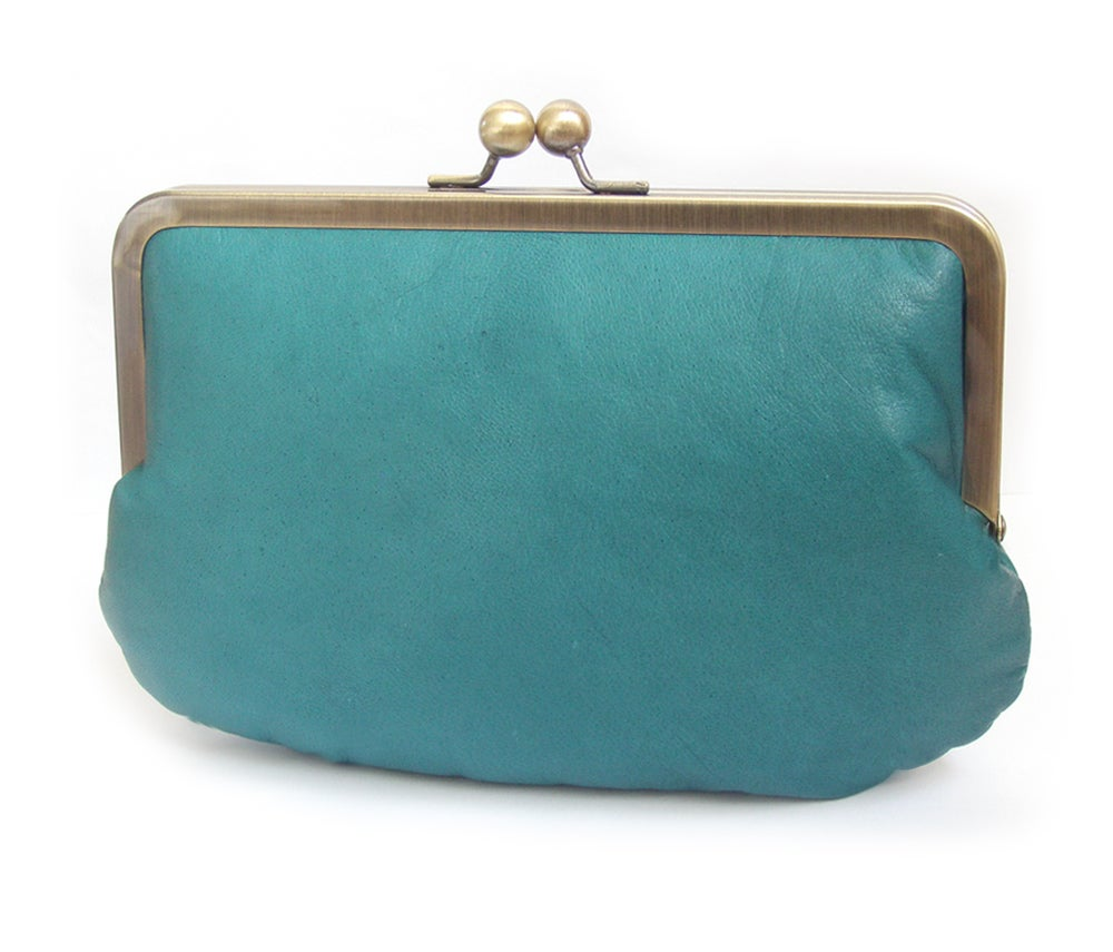 Image of Teal leather clutch