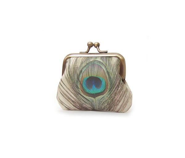 Image of Peacock feather coin purse