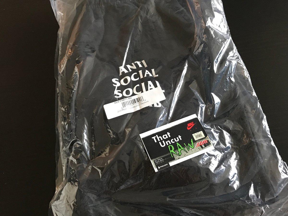 "Image of anti social social club ""second floor"" sweatpants, black, brand new"