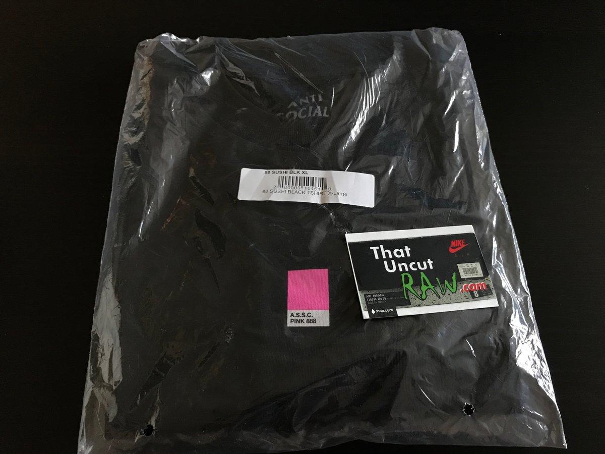 "Image of anti social social club ""88 sushi"" t-shirt, black/pink, brand new"