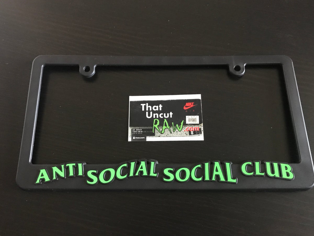 Image of anti social social club license plate frame, black/electric green, brand new
