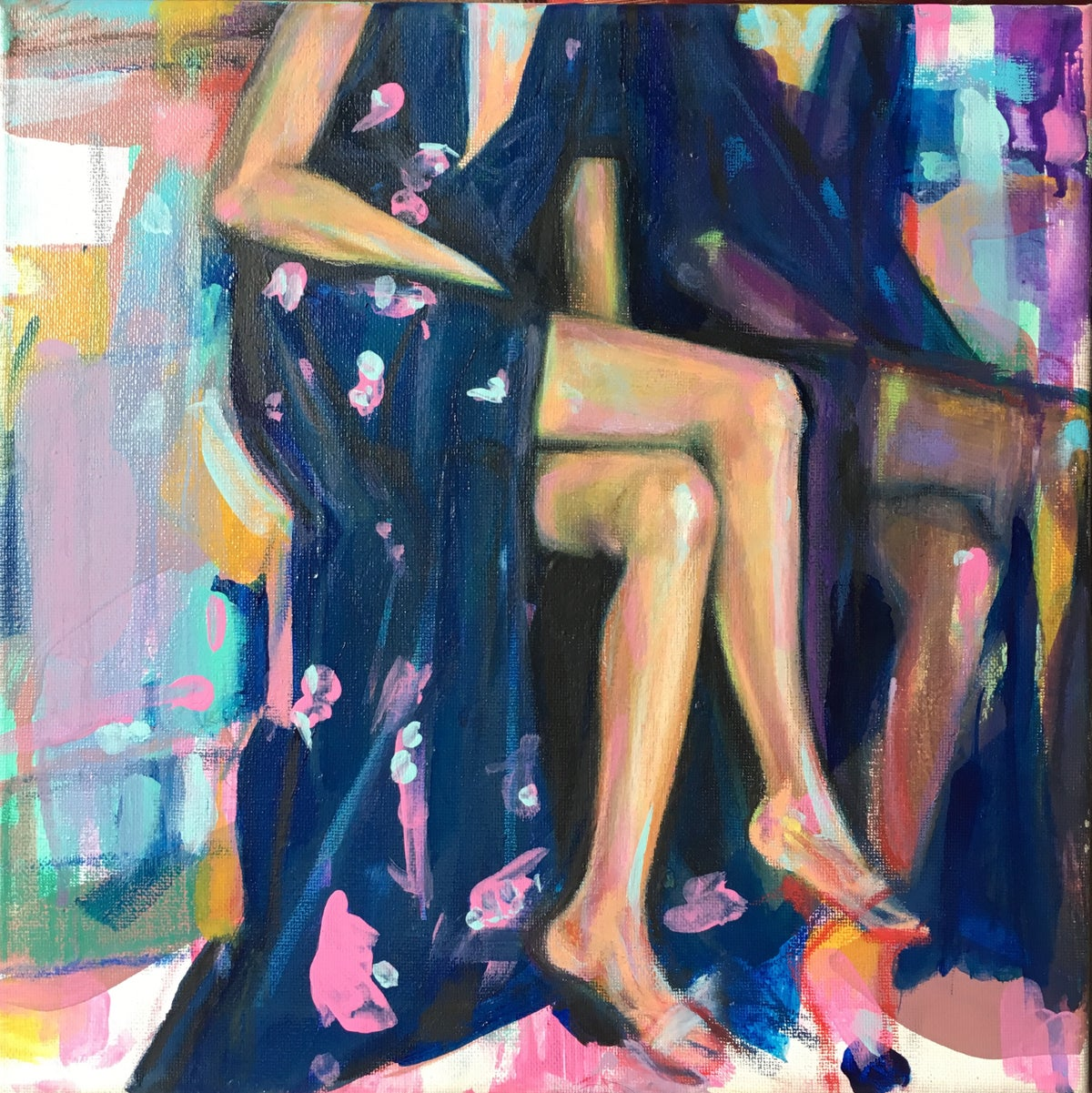 Image of Two Stemmed Lilies - Original Painting