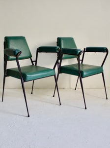 Image of Pair of Italian Armchairs with Metal Frames, 1950s