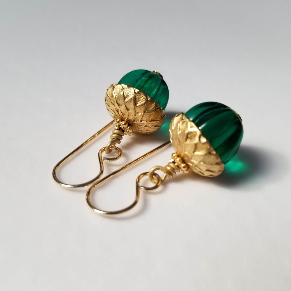 Image of Emerald Acorn Earrings