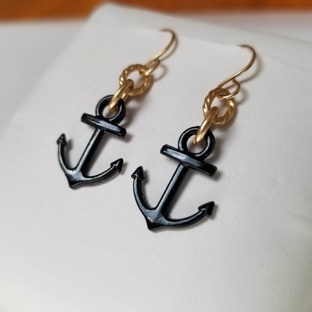Image of AnchorsAweigh - Black Anchor Earrings