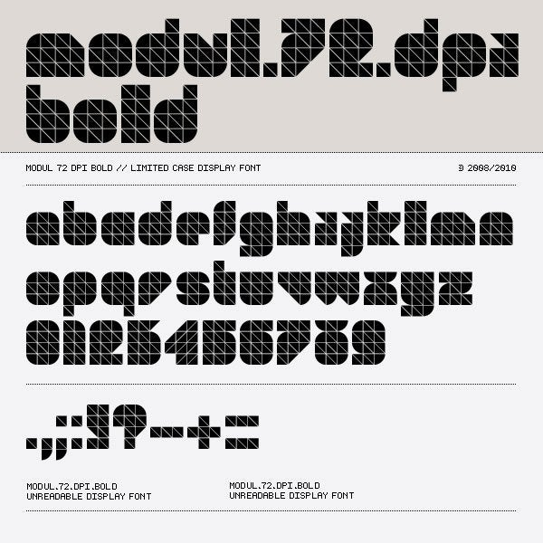 Image of Modul 72 dpi Font Family (3 fonts)