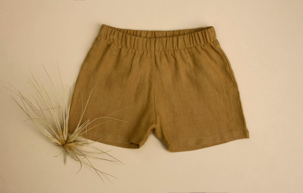 Image of Everyday linen shorts sage, mustard and saffron