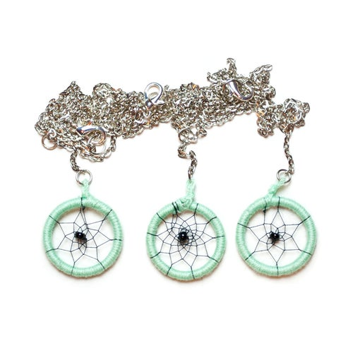 Image of Mint dreamcatcher necklace