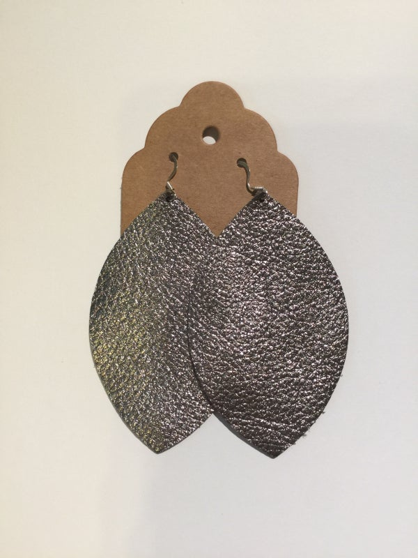 Image of Leather Earrings - Large Leaf Gunmetal