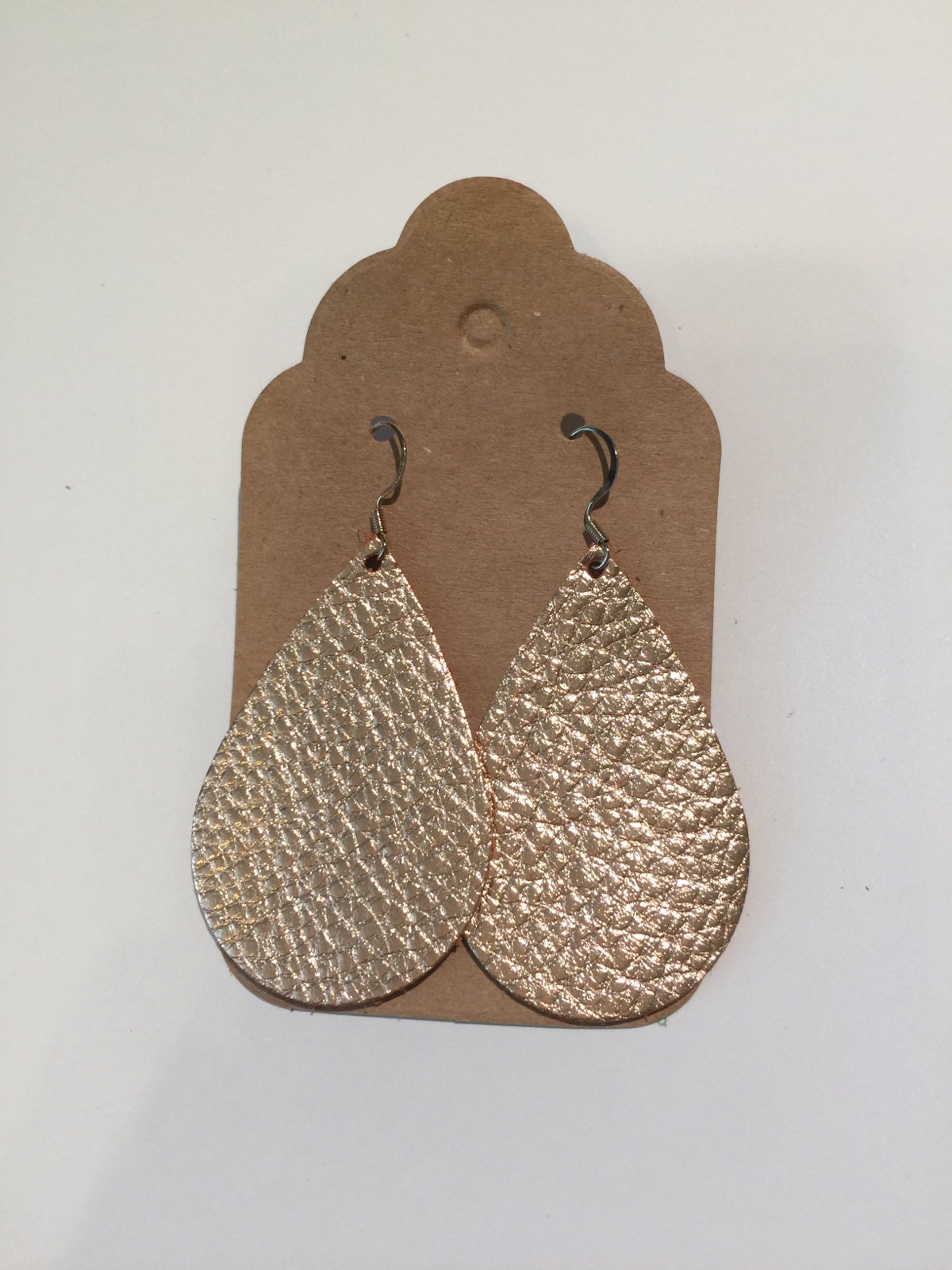 Image of Leather Earrings - Rose Gold