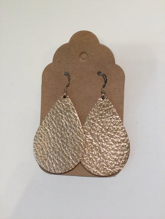 Image of Leather Earrings - Teardrop Rose Gold