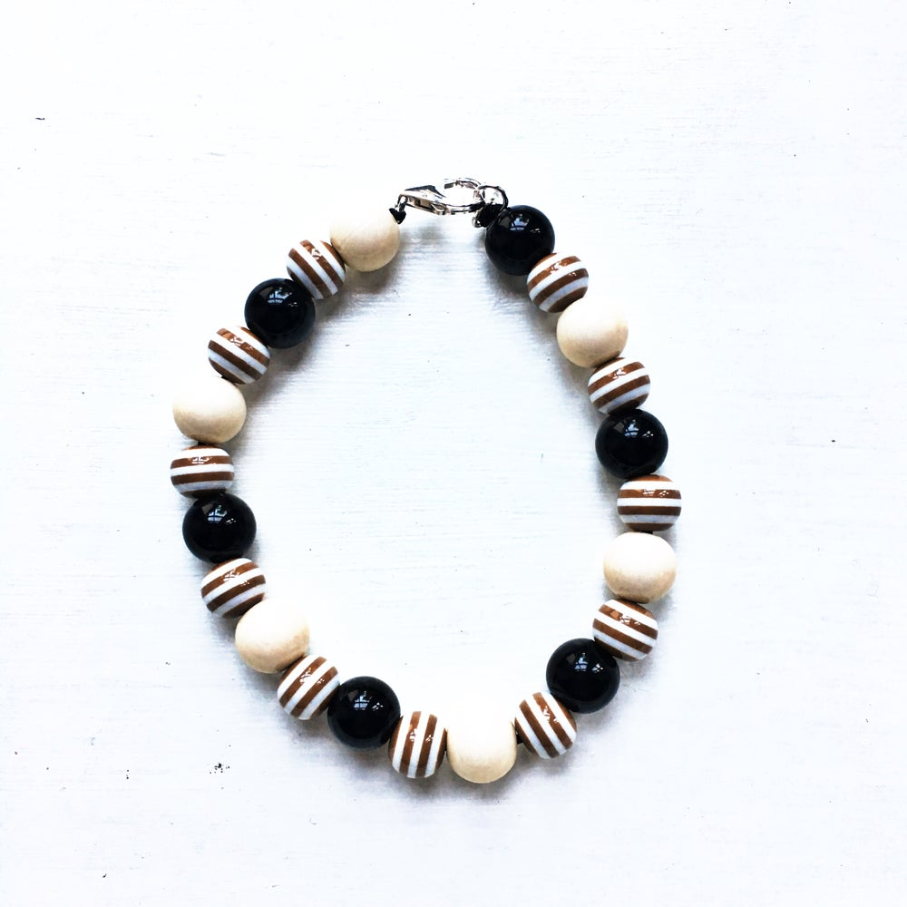 Image of Cookies & Cream ~ Cream, Brown Stripe & Black Beaded Dog Necklace