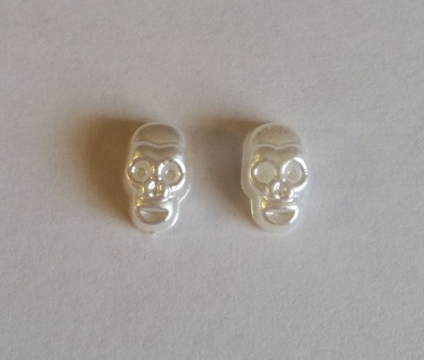 Image of Halloween Pearly Skull Charms (2pcs) PEARL 13x8mm