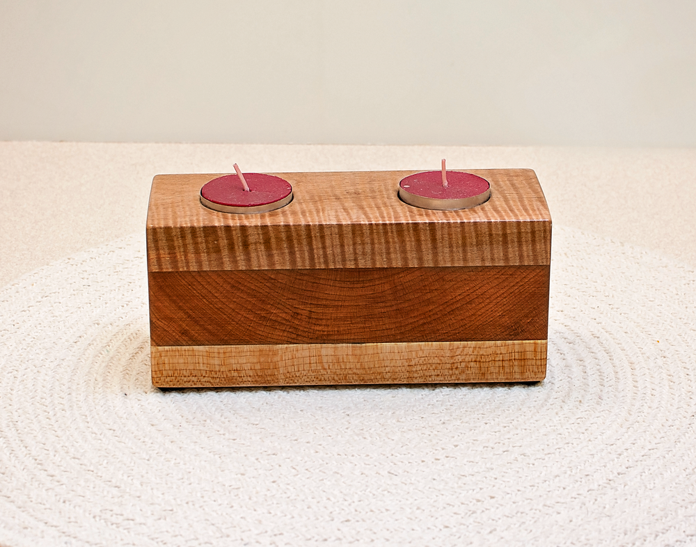 Image of Tea Light Wood Candle Holder made of Tiger Maple and Walnut, Candle Home Decor