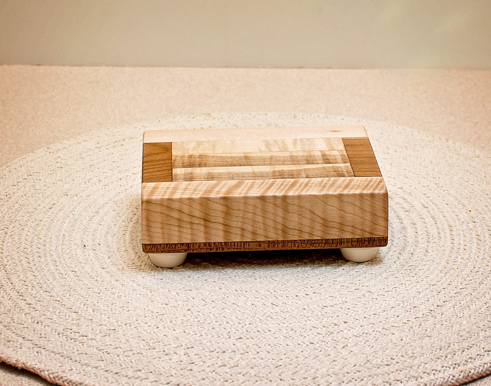 Image of Wood Trivet made of Cherry and Maple, Kitchen Accent Wood Decor, Vase Display