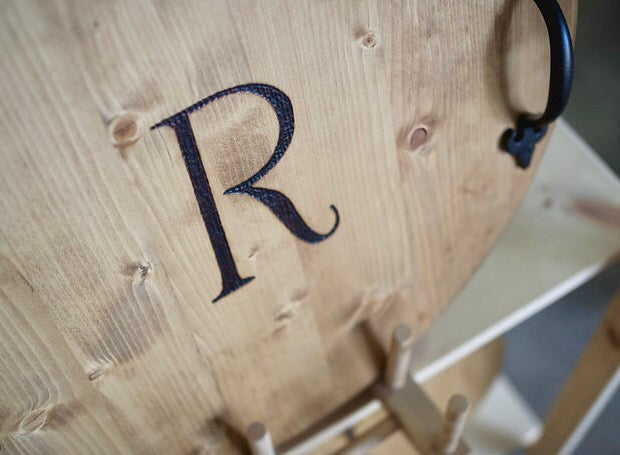 Image of Serving Tray with Wood Burned Initial