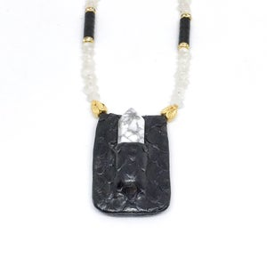 Image of AMULET necklace black/white