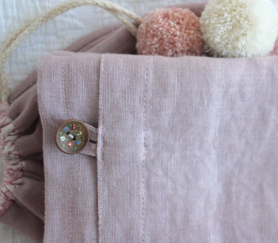 Image of Wood rose linen pillowcase