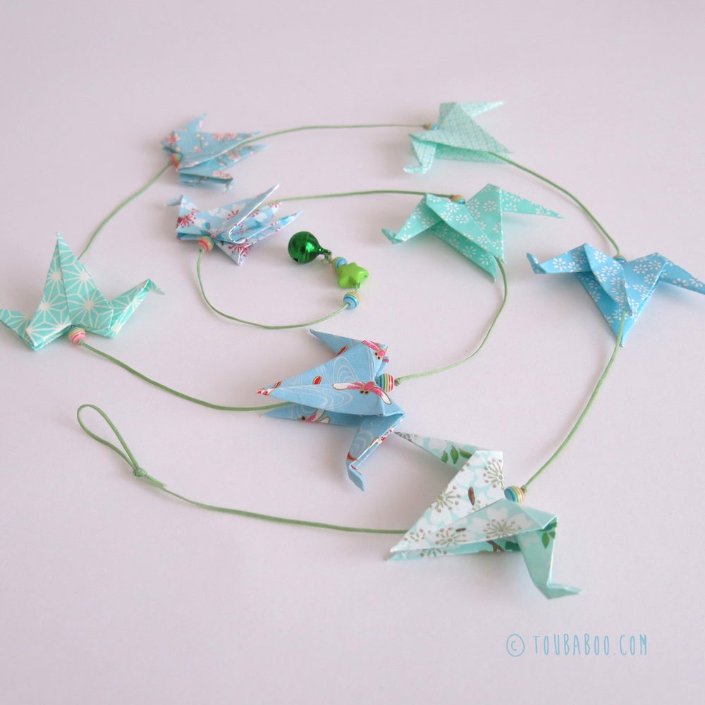 Image of Guirlande origami grues menthe et bleu
