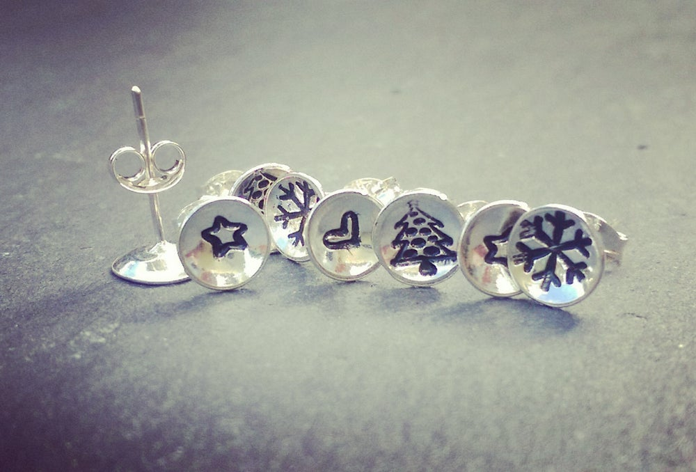 Image of Snowflake Tiny Silver Stud Earring