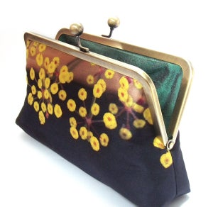 Image of Yellow flower clutch bag