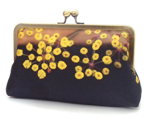 Image of Yellow flower clutch bag, silk purse
