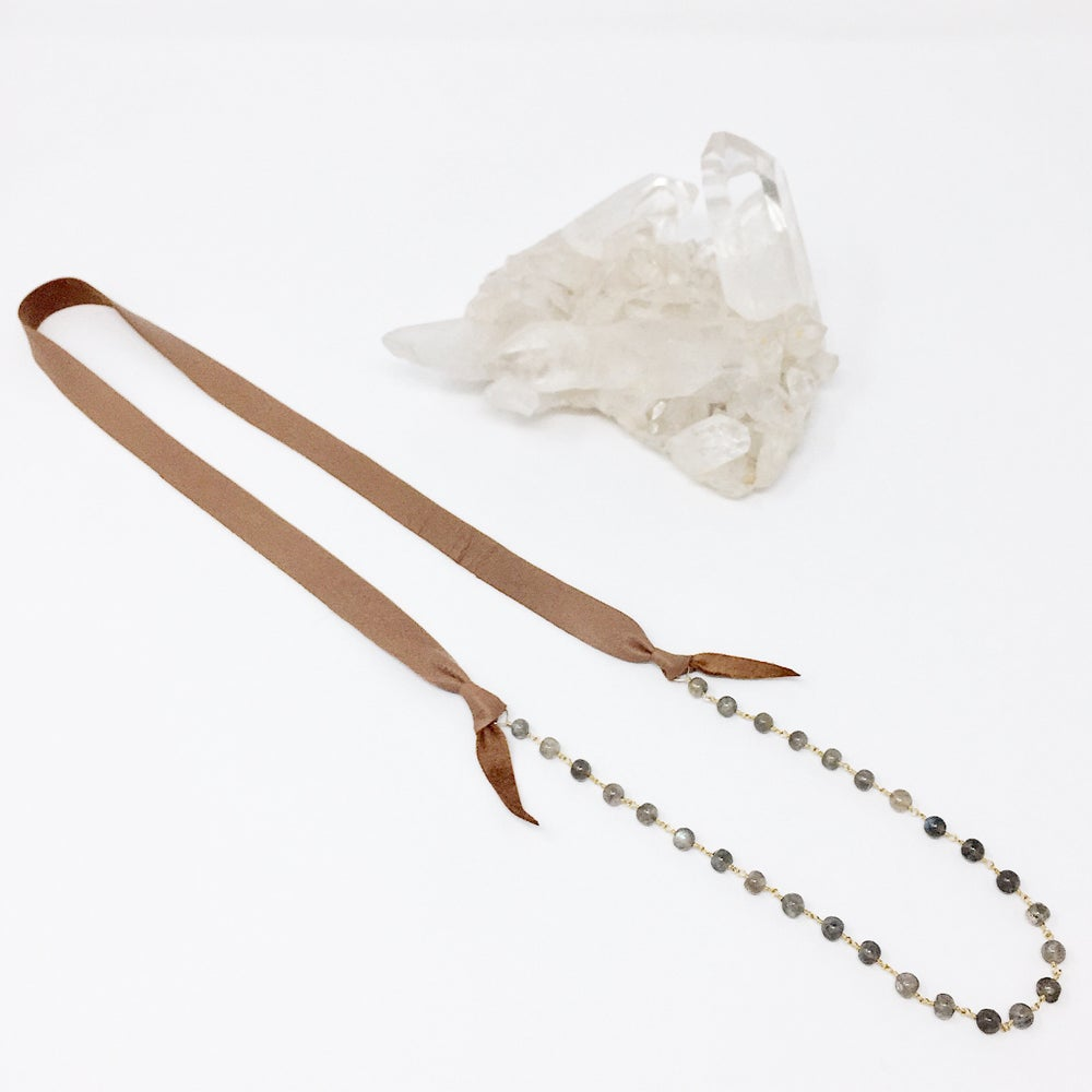 Image of Leather and Stones Necklace