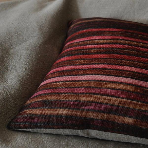 Image of CARMINE/IRON PRINTED LINEN STRIPE - natural linen back