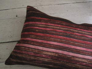Image of CARMINE/IRON PRINTED LINEN STRIPE - natural linen back