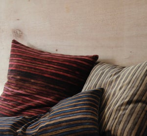 Image of CARMINE/IRON PRINTED VELVET STRIPE - double sided or linen backed