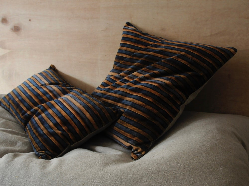 Image of TEAL/TABAC PRINTED VELVET STRIPE - linen back or double sided