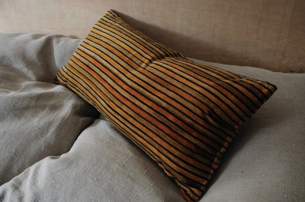 Image of OCHRE/BUFF PRINTED STRIPE ON VELVET - linen back or double sided