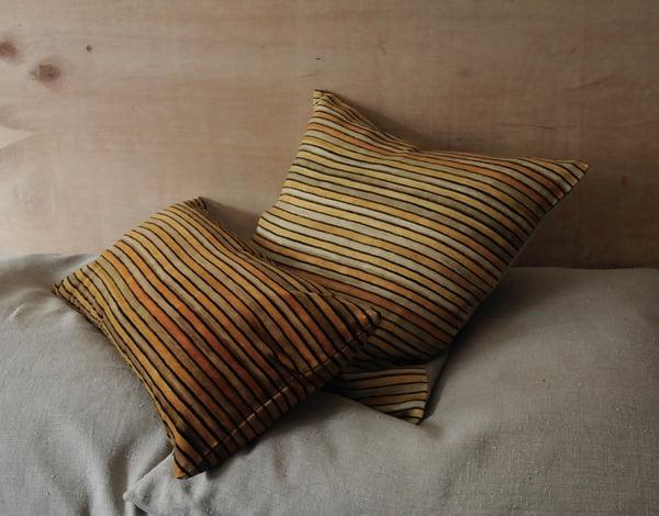 Image of OCHRE/BUFF PRINTED STRIPE ON VELVET - linen back or double sided