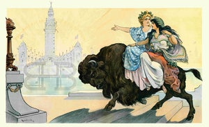 Image of Pan-American Puck - Riding Together on a Buffalo