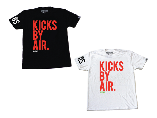 "Image of KICKS BY AIR ""WHITE OR BLACK W/ BOLD ORANGE"" TSHIRT"