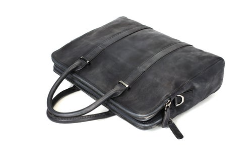 Image of Vintage Vegetable Tanned Leather Briefcase, Men Messenger Bag, Laptop Bag 9043