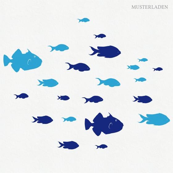 Image of Wandtattoo 24 Fische in zwei Farben
