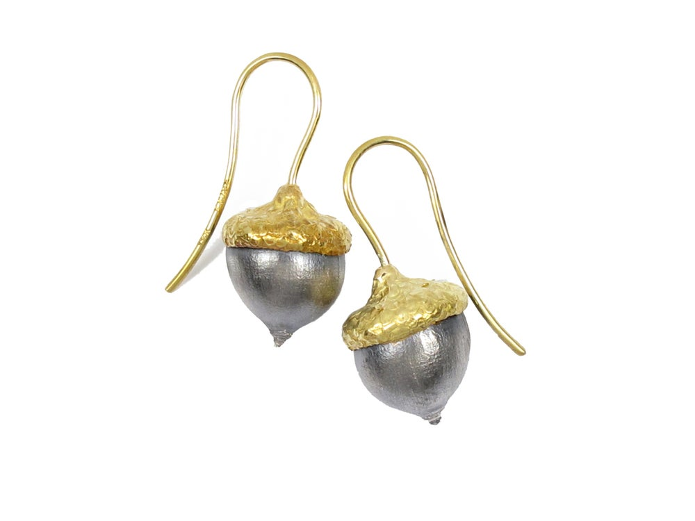 Image of Acorn Earrings 18k and Sterling Silver