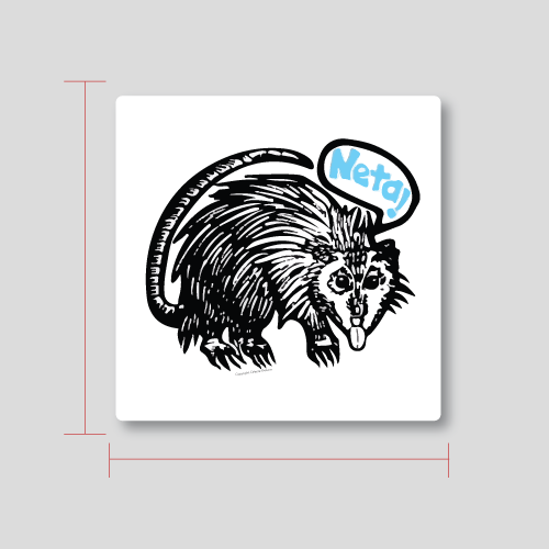 "Image of Tlacuache ""Neta!"" 4.5"" x 4.5"" 3 pack stickers"