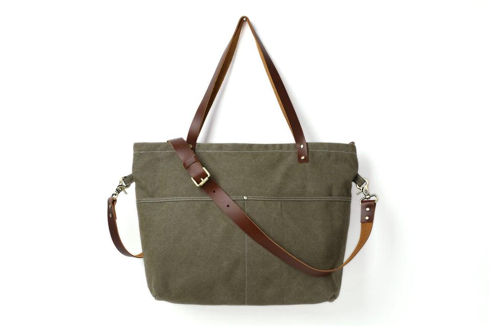Image of Washed Canvas with Leather Women Tote Bag, Shoulder Bag, Diaper Bag, Handbag 14022