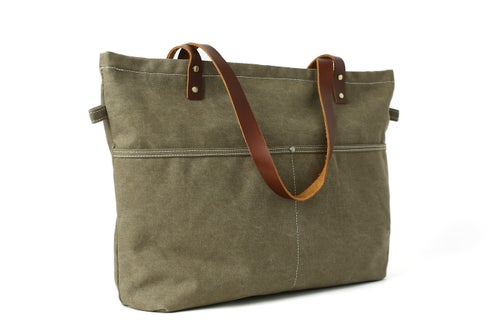 Image of Waxed Canvas with Leather Women Tote Bag, Shoulder Bag, Diaper Bag, Handbag 14022