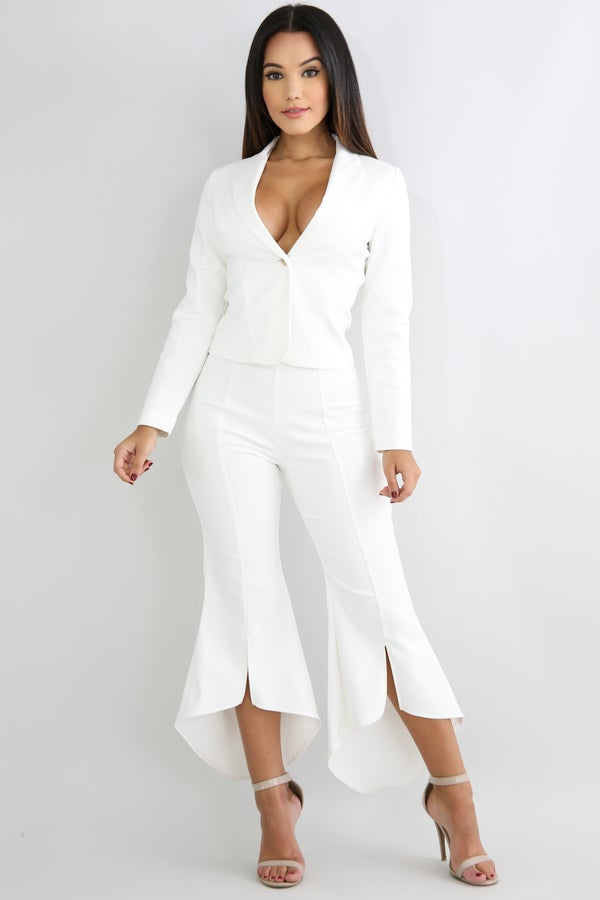 Image of Blazer With High Waisted Flared Pants Set